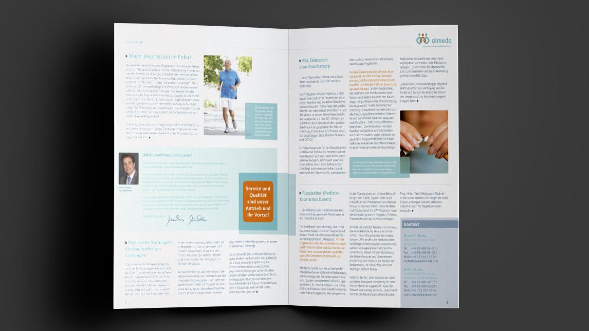Broschüren und Newsletter Grafikdesign für almeda