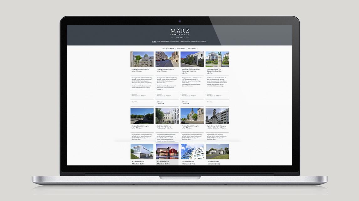 Webdesign München von Jan Möltgen, Grafikdesigner für März Immobilien