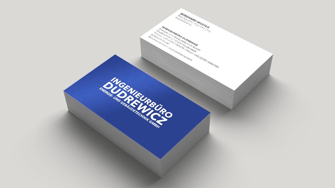 Visitenkartendesign München von Jan Möltgen, Grafikdesigner für  das Ingenieurbüro Dudrewicz