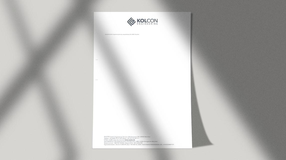 Briefpapier Design München von Jan Möltgen, Grafikdesigner für Kolcon Engineering