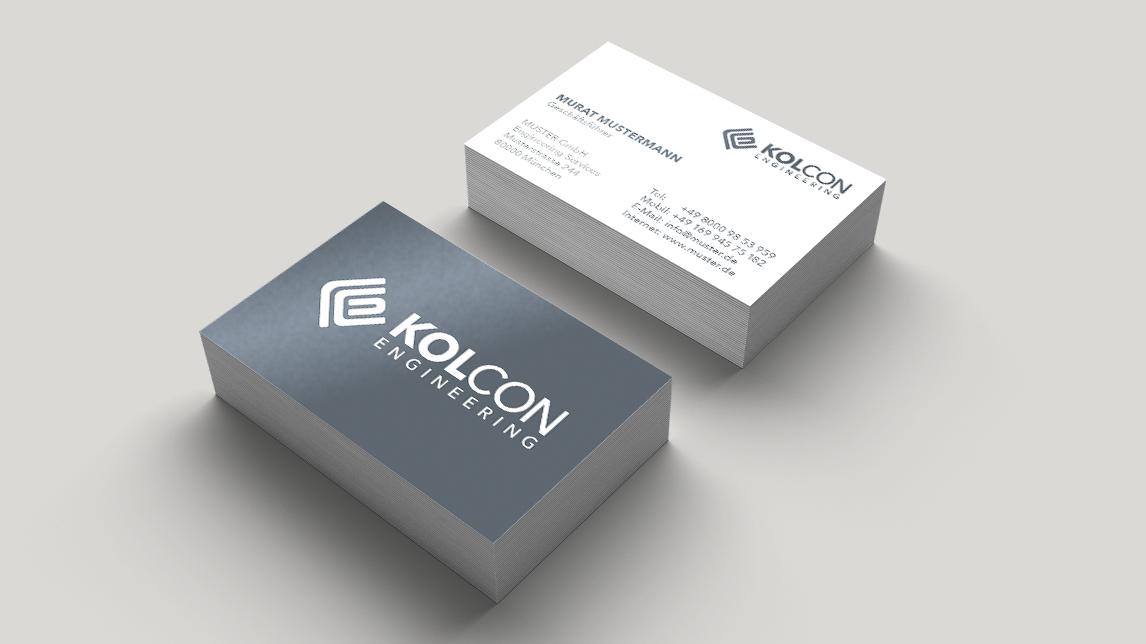 Visitenkarten Design München von Jan Möltgen, Grafikdesigner für Kolcon Engineering