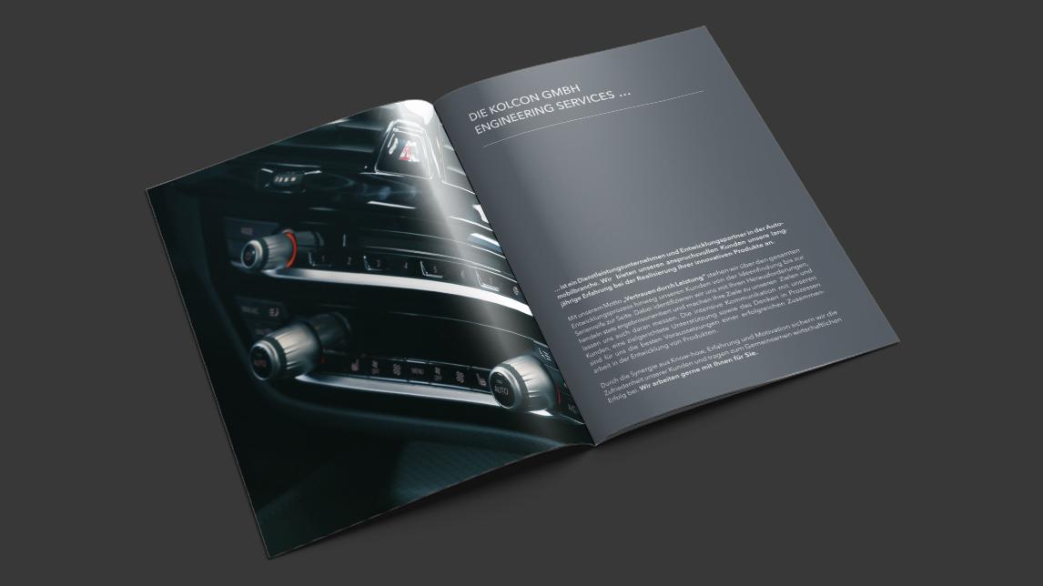 Broschüren Design München von Jan Möltgen, Grafikdesigner für Kolcon Engineering