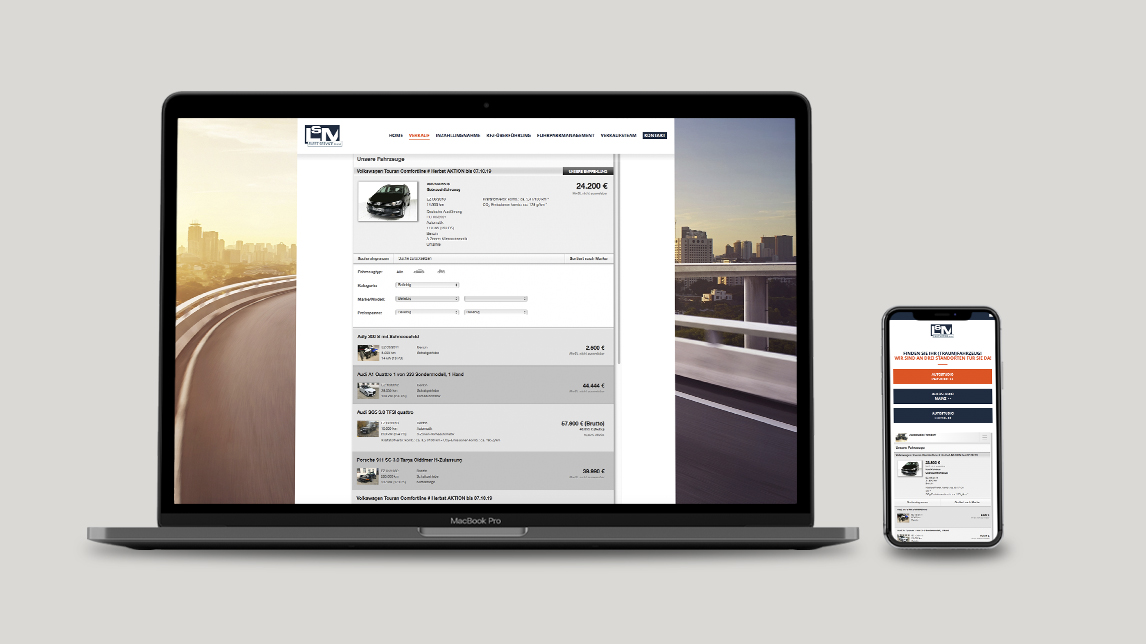 Webdesign München von Jan Möltgen, Grafiker für das LSM Autostudio Parsdorf