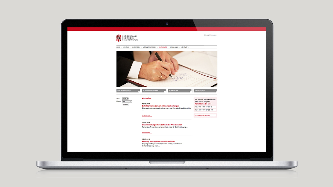 Webdesign für Scheunemann und Schneider Rechtsanwälte