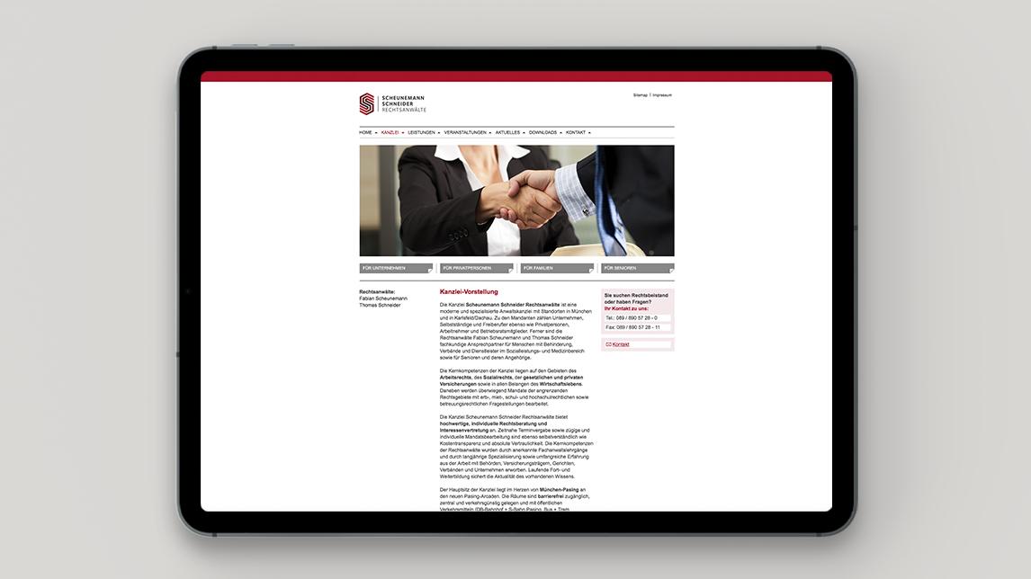 Websiet Design für Scheunemann und Schneider Rechtsanwälte
