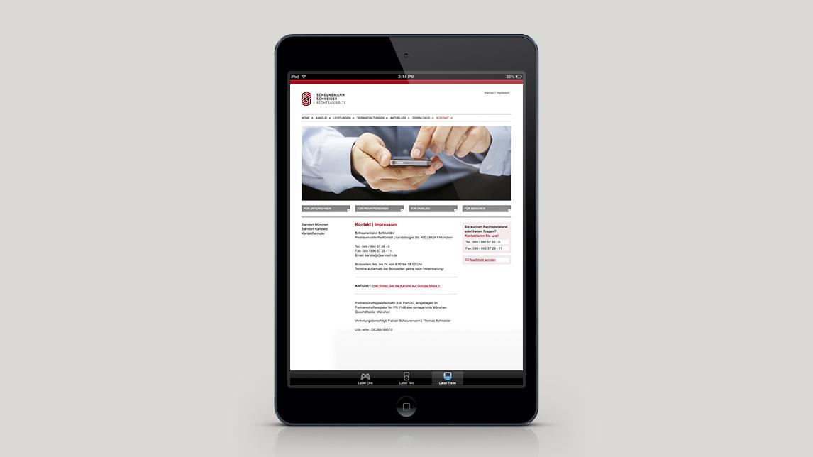 Website Gestaltung für Scheunemann und Schneider Rechtsanwälte