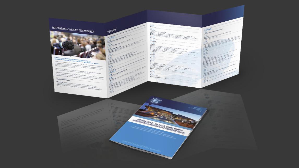 Broschueren Design München von Jan Möltgen, Grafikdesigner für das Tax Audit Forum Munich