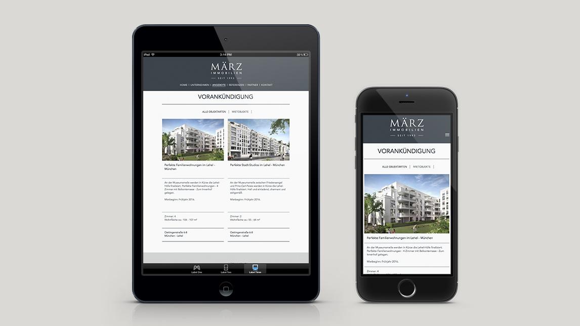 Webdesign München für März Immobilien