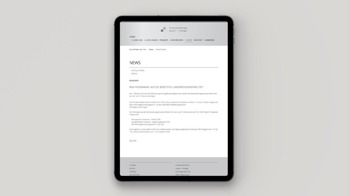 Website Design München für Planen und Bauen