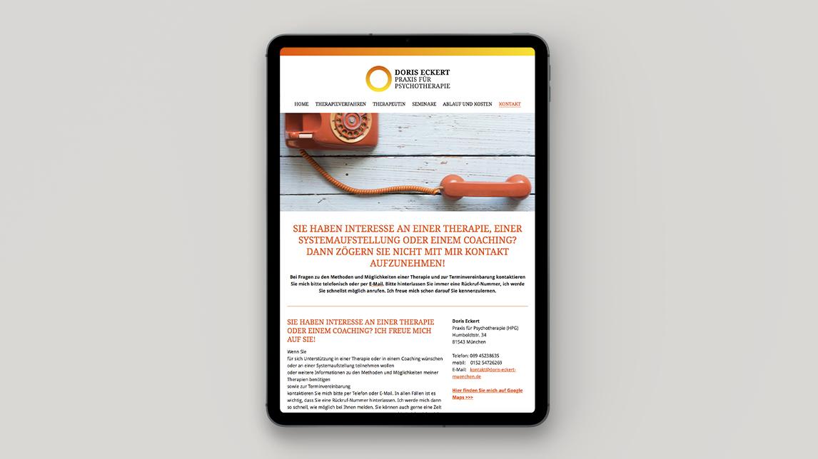 Website Design München von Jan Möltgen, Grafikdesigner für Doris Eckert heilpraktkerin für Psychotherapie