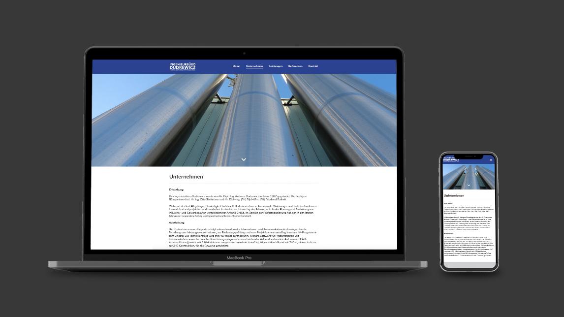 Website Design für das Ingenieurbüro Dudrewicz